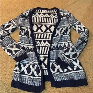 Navy & White Patterned Cardigan